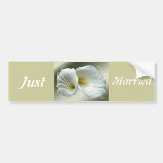 Save the date celebration white lilies design bumper sticker