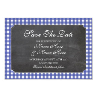Save The Date Chalk Blue Check Rustic Wedding Card
