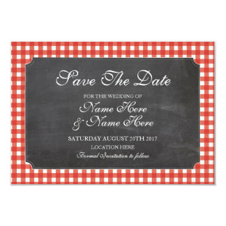 Save The Date Chalk Red Check Rustic Wedding Card