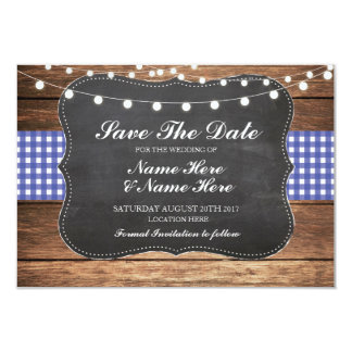 Save The Date Chalk Rustic Blue Check Card Wood
