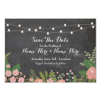 Save The Date Chalk Rustic Floral Lights Invite