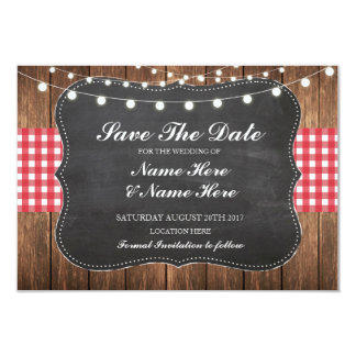 Save The Date Chalk Wood Rustic Red Check Card