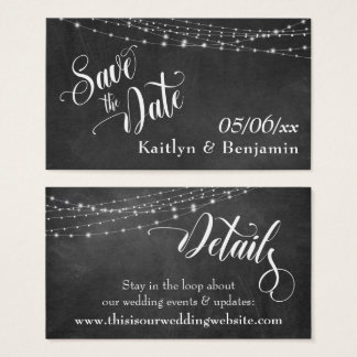 Save the Date Chalkboard Lights Wedding Details Business Card