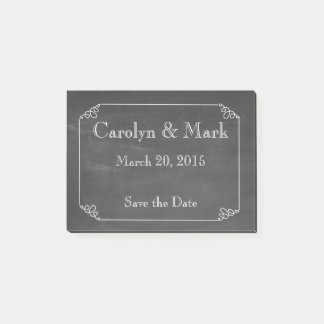Save the Date, Chalkboard Rustic Vintage Wedding Post-it Notes