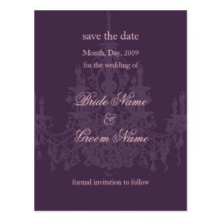 Save the Date/chandelier/diy color Postcard