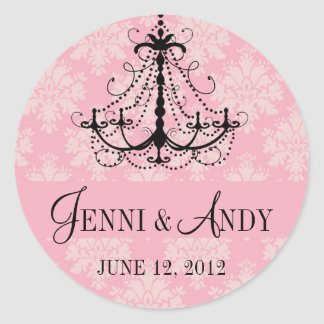 Save the Date Chandelier Names Wedding Sickers Classic Round Sticker