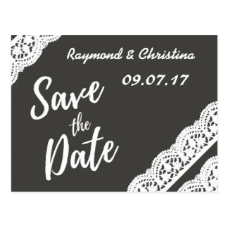 Save the date charcoal grey and lace card