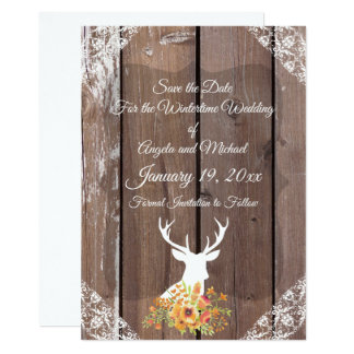 Save the Date Chic Antique Rustic Deer Antlers Card