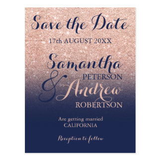 Save the Date Chic rose gold glitter navy blue Postcard