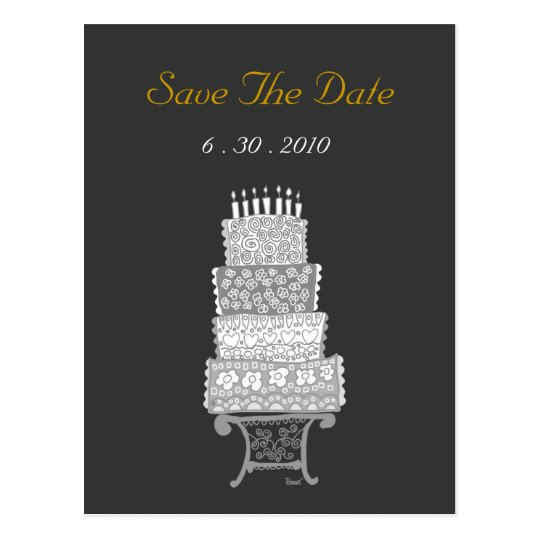 Save The Date Classic Black Wedding Cake Postcard