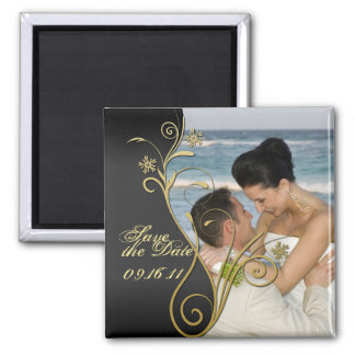 Save the Date Classy Black & Gold Floral Magnet