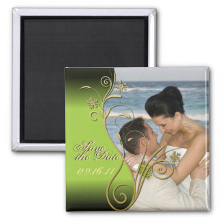 Save the Date Classy Green & Gold Floral Magnet