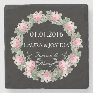 Save the date coaster Personalized wedding rose Stone Beverage Coaster