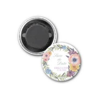Save The Date- Colorful Floral Wreath Magnet