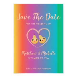Save The Date Colorful Rainbow Cute Spring Wedding Card