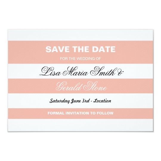 Save The Date Coral & White Elegant Stripe Wedding Card