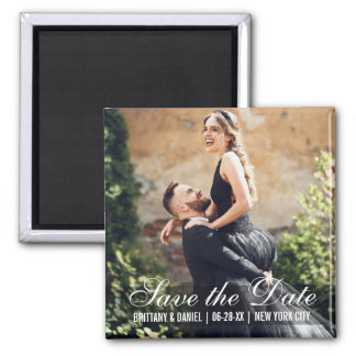 Save The Date Couple Names Photo Date Sq Magnet