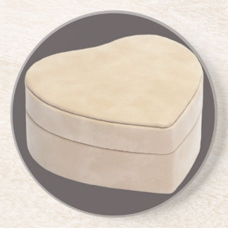 Save the Date Cream Heart Beverage Coasters