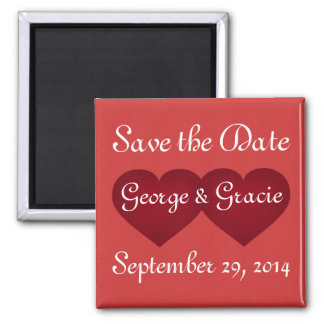 Save the date crimson hearts magnet