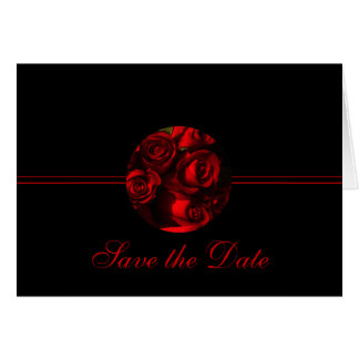 "Save the Date - ""Crimson Rose Bouquet"" Stationery Note Card"