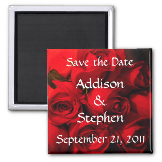 """Save the Date"" - Crimson Rose Bouquet Square Magnet"