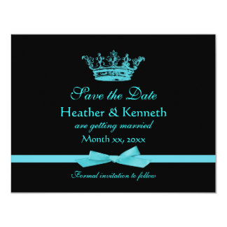 """Save the Date Crown Blue 4.25"""" X 5.5"""" Invitation Card"""
