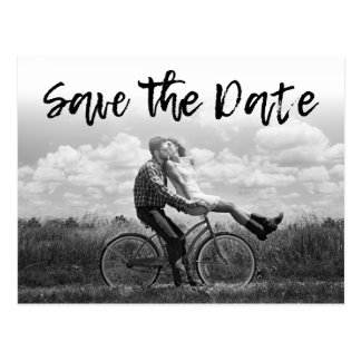 SAVE THE DATE | Cursive Photo Wedding Invitations Postcard
