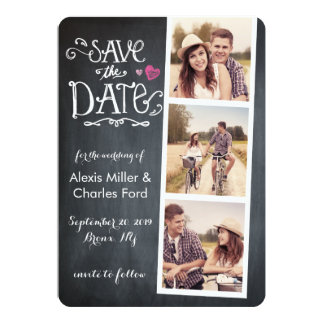 Save the Date   Curved Type Chalkboard Card