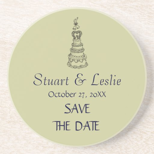 Save The Date Custom Modern Wedding Coaster