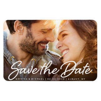 Save the Date Custom Photo Fancy Script Magnet
