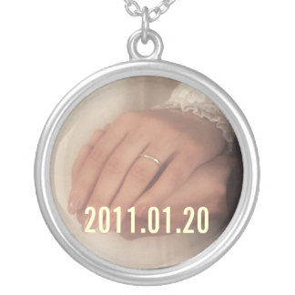 Save the date custom  photo pendant. Personalize. Round Pendant Necklace