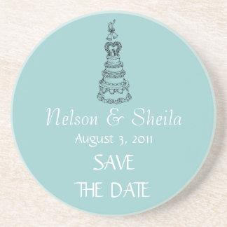 Save The Date Custom Wedding Coasters (modern teal