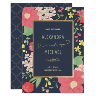 Save the Date - Customized Invite - Flowers & Gold