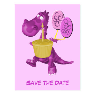 Save The Date Cute Purple Dragon Balloons Postcard