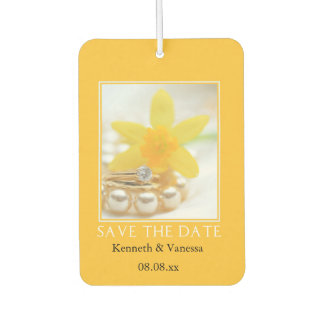 Save the Date! Daffodil Spring wedding Car Air Freshener
