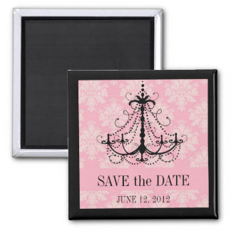Save the Date Damask Chandelier Wedding Magnets