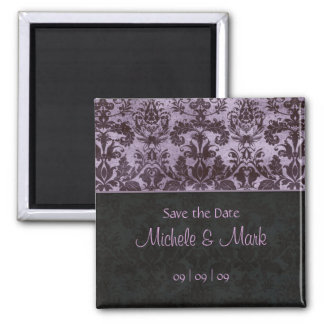 Save the Date Damask Magnet 2b Purple