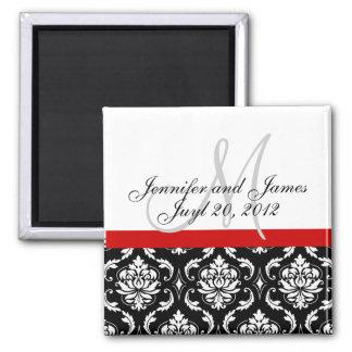 Save the Date Damask Monogram Wedding Magnet