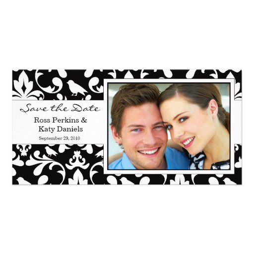 Save the Date Damask Photo Card Template