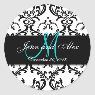 Save the Date Damask Stickers Monogram Names
