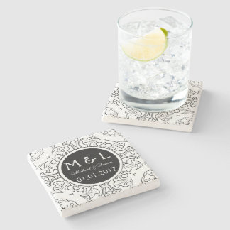 Save the Date damask stone coasters black white