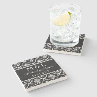Save the Date damask stone coasters black white Stone Coaster