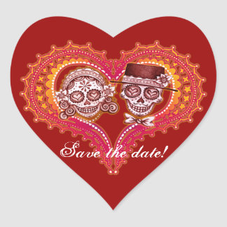 Save the date! Day of the Dead Heart Stickers