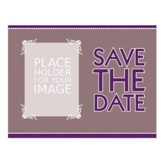 Save The Date- Design 1- aubergine and Smoke Postcard