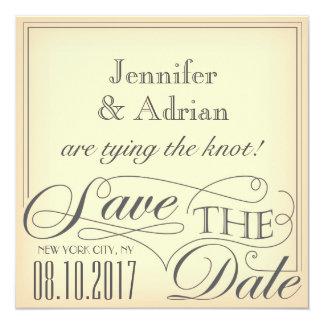 """Save the date design 5.25"""" square invitation card"""