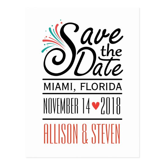 Save the Date design. Postcard