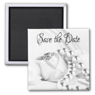 Save the Date Diamon Engagement Ring Square Magnet