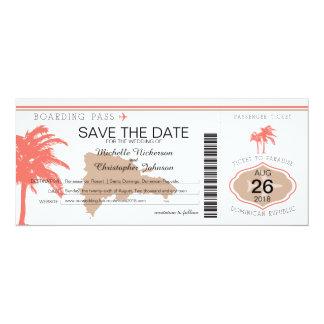 "Save the Date Dominican Republic Boarding Pass 4"" X 9.25"" Invitation Card"