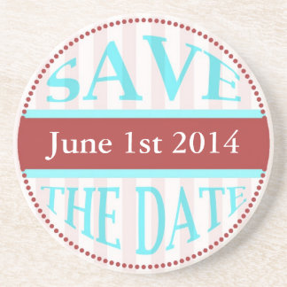 Save The Date Dot Circle Stripes Blue Red Light Drink Coasters