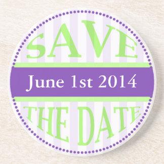 Save The Date Dot Circle Stripes green purple Coaster